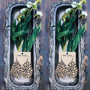 Cheetah cork leather earrings